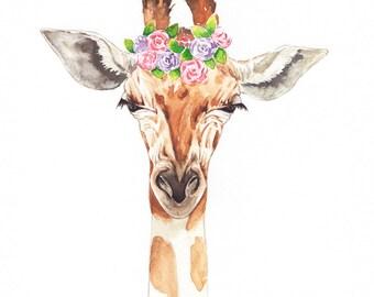 Floral Giraffe Watercolor, Safari Watercolor Print, Safari Animal Print, Giraffe Wall Decor, Nursery Art