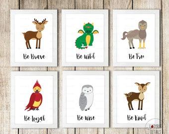 Magical Woodland Nursery Wall Art, Magical Nursery, Dragon Nursery, Woodland Creatures Nursery Prints, Wizard Nursery Wall Art, Printable