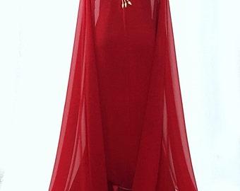 Long red embroided moroccan kaftan caftan bridal cape