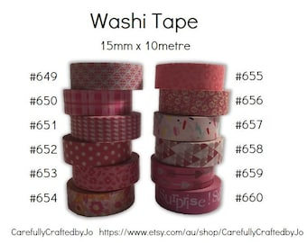 Washi Tape - Pink- 15mm x 10 metres - High Quality Masking Tape