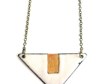 Grey and Gold Long Enamel Necklace