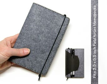 Kraft-tex Vegan Field Notes Memobook Cover w/ Pen Holder - Heather Gray - Fits 3.5 x 5.5 in. Field Notes / Moleskine Notebooks