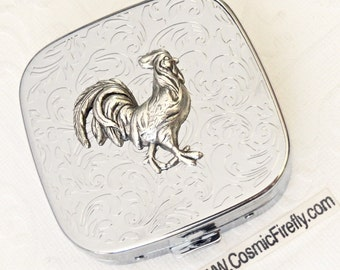 Rooster Pill Case Silver Cock Pill Box Steampunk Mirror Small Cock On Silver Plated Metal Pill Case Gothic Victorian Steampunk Accessories