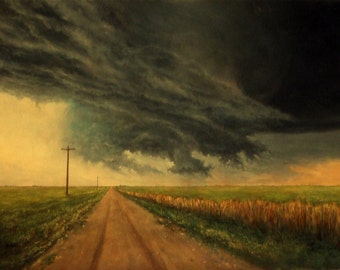 Tornado Painting, Original Landscape Painting, Storm Painting, Tornadic Supercell