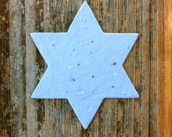 """20 Star of David Plantable Seeded Paper Shape 2.5"""" x 3"""" DIY Favors, 39 Colors Available"""
