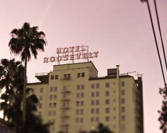 Roosevelt Hotel- Los Angeles Photography - Pink Beige - Pastel Hollywood California Print (Vertical)