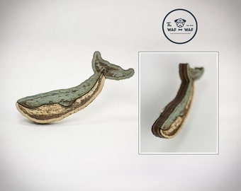 Wooden whale brooch, whale gift made with three layers of wood, whale jewelry