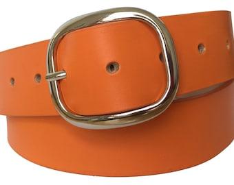 Island Orange Leather Belt Strap - Full Grain Leather