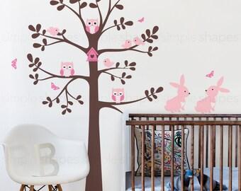 Tree wall decal with animals - Owl Rabbit Bird Tree Wall Decal - Shelving tree decal - wall decal - baby nursery decal