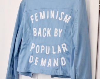 Feminism Back By Popular Demand Jacket - Sky Blue