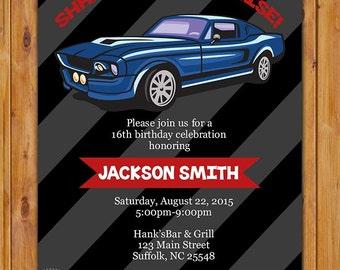 Teen Surprise Car Birthday Party Invite Blue Muscle Car Masculine Man Navy Grey Invitation 16th 60th Birthday 5x7 Digital JPG File(455)