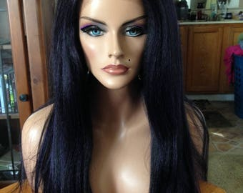 Free Shipping - Lace Front Wig - High Quality Synthetic Hair - Purple/Black Wig - Long & Straight - Comfortable Fit - Chic