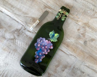 Grapes Melted Wine Bottle Cheese Tray / Wine Bottle Spoon Rest