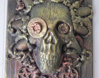 Dystopian Faux Bronze PAGAN Original Wall sculpture by TW Klymiuk