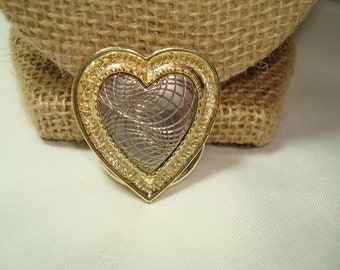1980's Silver and Gold Tone Swirled Heart Scarf Clip.