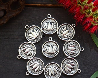 Antique Silver Lotus Charm, 20x24mm, 1pcs / Nunn Designs, Lotus Pendants, Meditation Charms, Intentional Jewelry, Jewelry Making Supplies