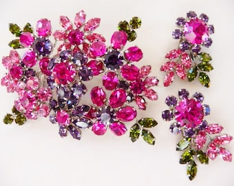 Austria rhinestone floral brooch pin clip earrings set   signed Made in Austria   Yankauer vintage collectible   vintage bride