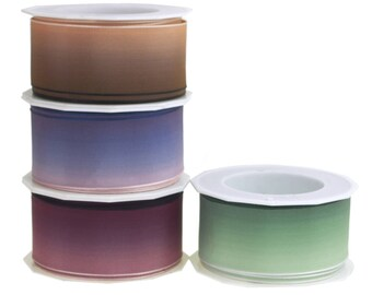 Ombre Polyester Ribbon Wired Edge, 1-1/2-Inch, 10 Yards