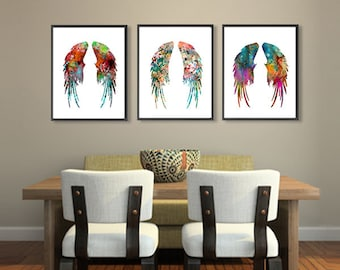 Angel Wings Art Print Set - Feather Watercolor Painting - Wall Decor - 187/206/406