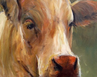 Cow Painting Print-  Vera - Paper Giclee Print by Cari Humphry