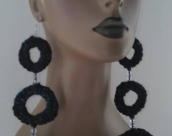 Long Dark Navy Blue Round Ring Crochet Earrings Embellished with Beads, Long Earrings, Crochet Jewelry, Womens Earrings, Large Earrings