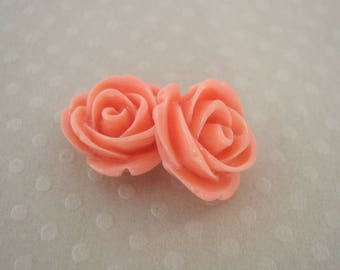 Set of 2 Pink salmon resin 13 mm - en-0162