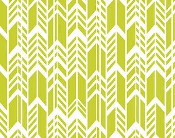 Alison Glass for Andover Fabrics Sun Print - Feathers in Chartreuse Lime Arrows - 1 Yard - Designer Fabric Destash Geometric Chevron