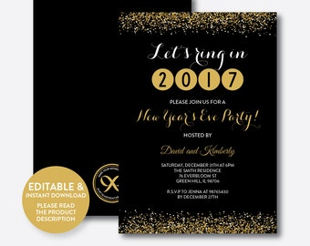 Instant Download, Editable New Years Eve Invitation, New Years Invitation, Black and Gold New Years Party Invitation, Gold Glitter (SHI.01)