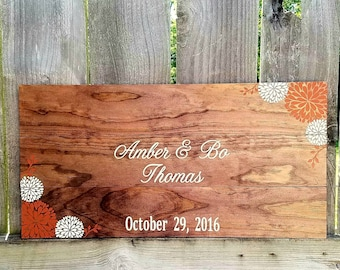 Rustic Guest Book - Wedding Guest Book - Rustic Wedding - Wooden Guest Book - Custom Guest Book - Flower Guest Book