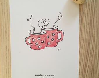 Teacup lovers design personalized with names and dates
