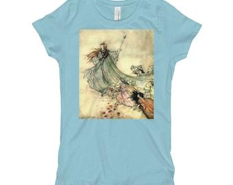 Arthur Rackham Fairy Queen Girl's T-Shirt, Arthur Rackham Art Print Shirt for Girls, Girls Shirt, Fairy Tale T-shirt