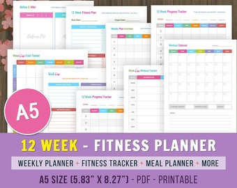 12 Week Fitness Planner Printable, Fitness Journal, Weight Loss Journal, A5 Fitness Tracker, Weight Loss Planner, Fitness Planner Printable