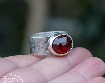 Bestow Ring ~ sterling silver wide band ring with Garnet