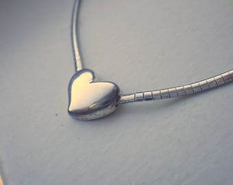 Italian Sterling Silver Heart Necklace - Puffy Heart - Solid Sterling