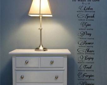 10 Ways To Love  vinyl letterings wall decal sticker