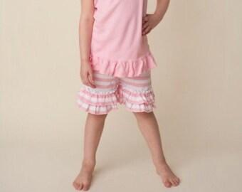 Girls pink and white striped ruffle shorts
