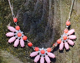 Gorgeous pink and coral rhinestone statement necklace