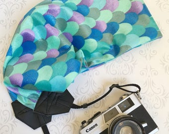 Scarf Camera Strap, DSLR Camera Strap, Extra Long, Nikon, Canon,  Gift,  , Photographer Gift - Mermaid Sparkle