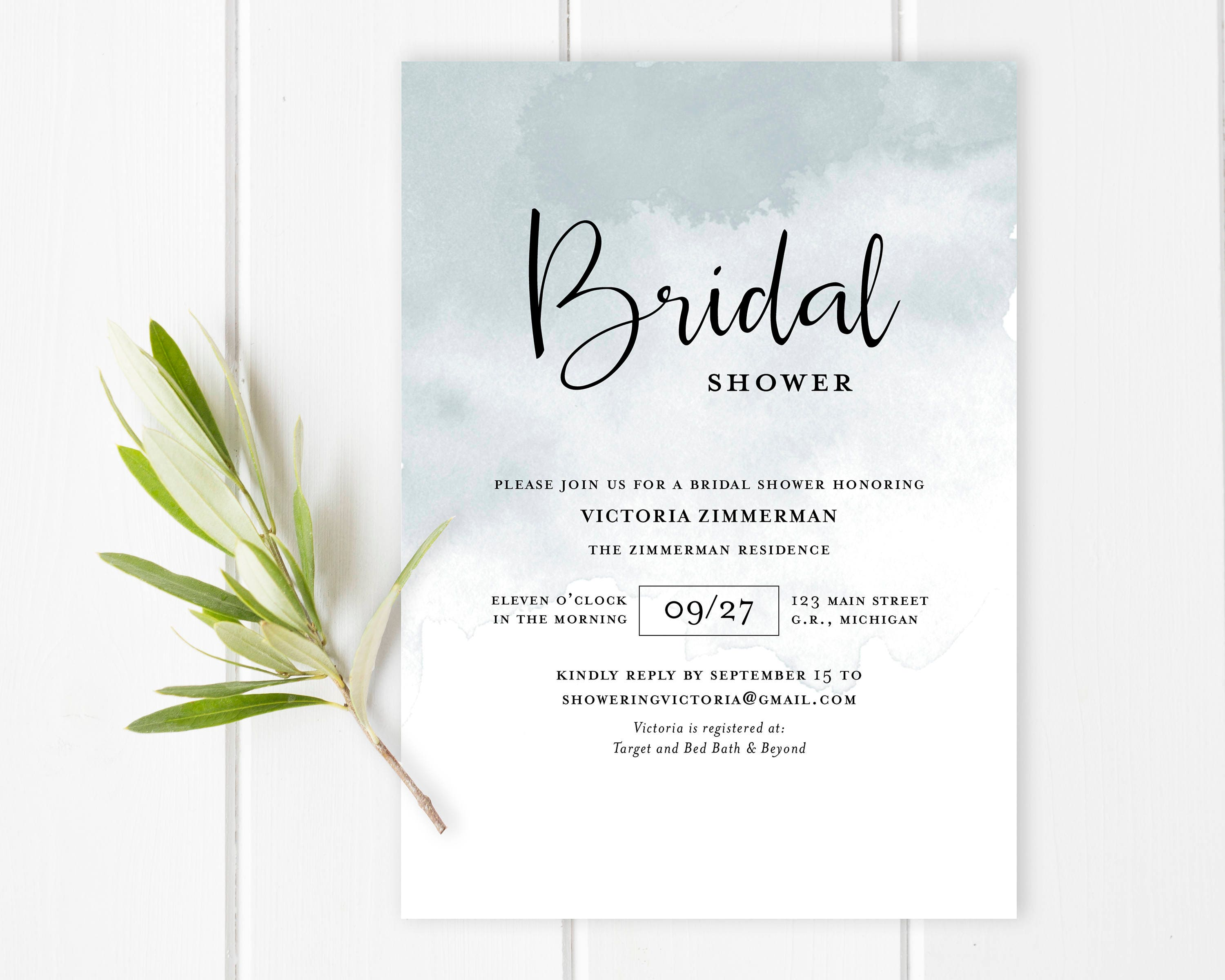 Abstract watercolor bridal shower invitation Dusty blue