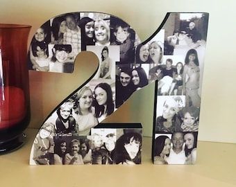 Freestanding Double Photo Number, Photo Collage, Birthday Gift, Photo Gift, Photo letter, Personalised gift,