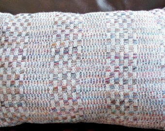 rectangle handwoven pillow - hand woven throw pillow - multicolored - linen throw pillow -