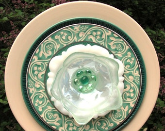 Deeply Layered Plate Flower in Soft Yellow and Green, Close Out Sale
