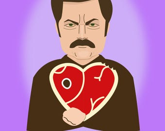 When our hearts meat - Ron Swanson Valentine