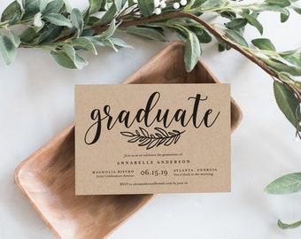 Editable Template - Instant Download Rustic Graduation Invitation
