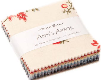 "Ann's Arbor Mini 2.5"" Charm Pack by Minick & Simpson for Moda Fabrics 42 2.5"" Fabric Squares"
