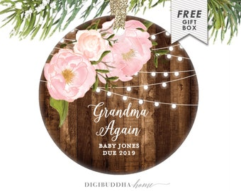 Personalized Grandma Pregnancy Reveal Christmas Ornament You're Going to Be A Grandma Again in 2019 Grandmother Pregnancy Announcement Gift