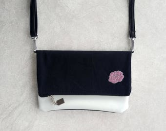Small Pink Rose Embroidery Fold-Over Purse