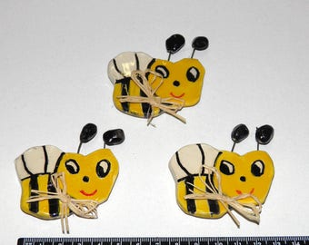 Handmade Ceramic Bees Magnets Gift Wrap Greek Souvenirs, Kitchen Ornament Magnet Smiling Faces