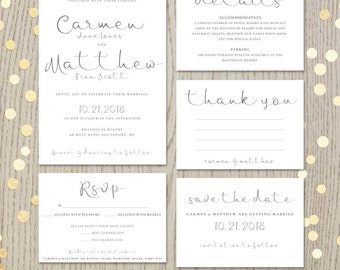 Wedding invitation kits etsy in printable wedding invitation suite script invitation kit modern calligraphy rsvp thank you stopboris