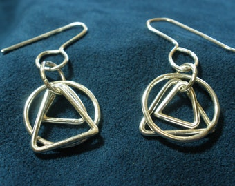 Sterling Silver Circle and Triangles Earrings